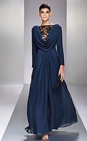 Formal Evening/Military Ball Dress - Dark Navy Plus Sizes A-line Bateau Floor-length Chiffon