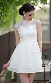 TS Beads Collar Mesh Jacquard Dress