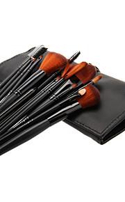 16PCS Wooden Handle Makeup Brush Set with Black Leatherette Pouch