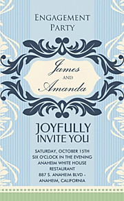 Personalized Floral Blue Vertical Engagement Party Cards - Set of 12
