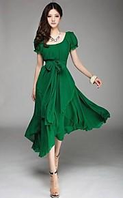 Mulheres Vestido Tamanhos Grandes Vintage Sólido Médio Decote U Poliéster