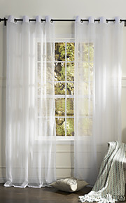 (One Panel Grommet Top) Country Elegant White Solid Eco-friendly Sheer Curtain