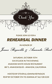 Personalized Classic Rehearsal Dinner Invitation Cards - Set of 12