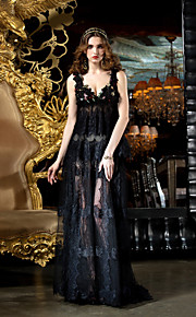 Homecoming TS Couture Prom / Formal Evening Dress - Black Plus Sizes Sheath/Column V-neck Sweep/Brush Train Lace