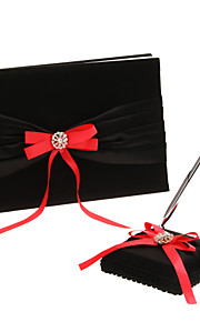 Red Bows And Black Polyester Banding Wedding Guest Book and Pen Set Sign In Book