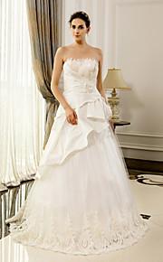 Lanting une ligne robe de mariage - blanc / ivoire / champagne-parole longueur bustier en dentelle
