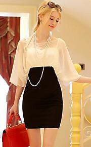 Women's White/Purple Dress , Bodycon ½ Length Sleeve