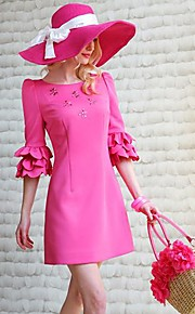 Women's Red Dress , Beach/Casual ½ Length Sleeve