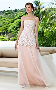 Vestido de Boda - Rosa Perla (el Color y Estilo pueden variar según su monitor) Corte en A Barrida - Sin Tirantes Tul/EncajeTallas