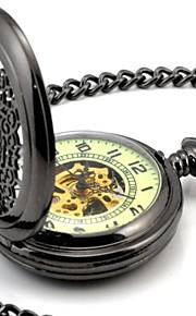 Männer-Perspektive Runde Hohl Alle Schwarz Leuchtzifferblatt Mechanic Skeleton Taschen-Uhr