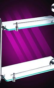 Wandrechteckig Double-Layer-Glasregal, 17 Zoll x 15 Zoll