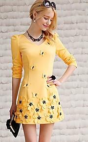 Women's Yellow Dress , Casual/Work Long Sleeve