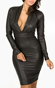 Sexy/Bodycon - Knelang - Dress - Polyester - Fôret