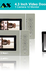 "tmax® 4,3 ""lcd-video dørtelefon dørklokken hjem post intercom 500tvl nattesyn (1camera til 2monitors)"