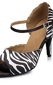 Non Customizable Women's Dance Shoes Salsa Flocking Stiletto Heel Black
