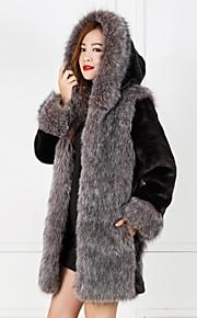 la mode à manches longues à capuche partie en fausse fourrure / veste décontractée