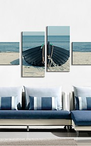 Stretched Canvas Art Shore Boat Set of 4