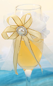 Noble Clear Champagne Glass With Gold Pearl Ribbon-Set Of 2