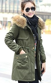 Women's the New Super Fur Collar Thickening Waist Cotton Coat