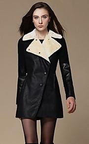 Women's Long Sleeve Medium Style Woolen Cloth Coat