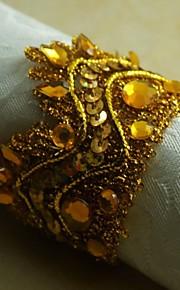 sole d'oro corona di fiori anello di tovagliolo di molti colori, acrilico, 4,5 centimetri, set di 12