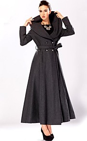 Women's Double Breasted Lapel Solid Color Long Sleeved Woolen Coat