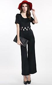 haoduoyi® Frauen perfekten geometrischen Dreieck Ausschnitt Tau Taille Design elastische lose Overalls