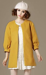 Women's Korean Long Sleeve Plus Sizes Pure Color Coat