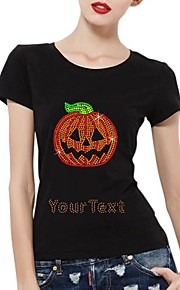 personlig rhinestone T-shirts halloween græskar mønster kvinders bomuld korte ærmer