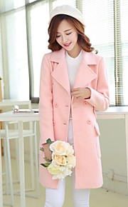 Women's Lapel Solid Color Double-breasted  Woolen Coat