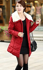 Women's Fur Collar Long Sleeve Warm Thick Slim Coat