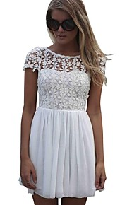 Women's Fashion Femininas Casual White Short Sleeve Lace Dress