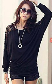 noir / blanc blouse de femmes, manches longues