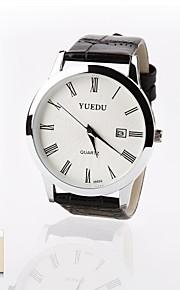 personlig gave ny stil mænds hvid skive læder band sport analog indgraveret ur