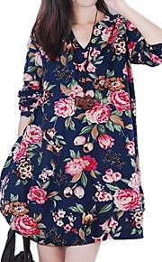 Damen Kleid - Lose Leger Blumen Mini Leinen V-Ausschnitt