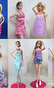 Prinsesse Kostume Til Barbie Doll Purple / Hvit Blonder Kjoler / Skjørt / Bukser / Toppe