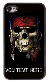 gepersonaliseerde geval piraat schedel ontwerp metalen behuizing voor de iPhone 4 / 4s
