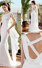 lanting trompette / sirène robe de mariée - ivoire balayage / pinceau train bretelles en mousseline de soie