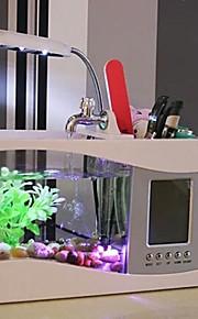 mini alt-i-ett usb-skrivebordet akvariefisk tank med LED lys kalender og penn saken