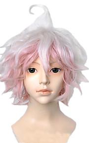 Angelaicos Men Super Dangan Ronpa 2 Nagito Komaeda Short Pink White Layered Halloween Costume Party Cosplay Wigs