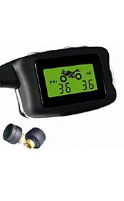 motorcycletpms, 2 eksterne sensorer, psi / bar display, overvågningssystem vandtæt, dæktryk