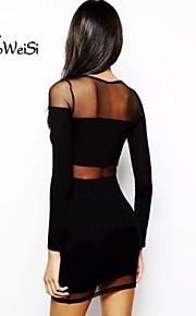 Women's Black Dress , Vintage/Sexy/Bodycon/Beach/Casual/Party/Plus Sizes Long Sleeve