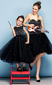 동창회 공식적인 이브닝 드레스 - 검은 공 가운 아가 무릎 길이 얇은 명주 그물