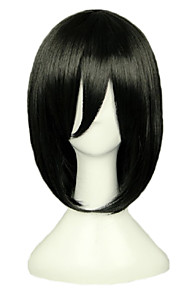 Angelaicos Women Attack On Titan Mikasa Ackerman Short Black Medium Halloween Party Nightclub Costume Cosplay Bob Wig