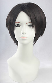 Angelaicos Men Attack On Titan Levi Short Brown Straight Layered Parting Natural Halloween Party Costume Cosplay Wig