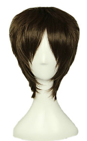 Angelaicos Men Attack On Titan Eren Jaeger Boy Dark Brown Layered Short Anime Harajuku Party Cosplay Full Wig