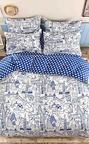 viaggio mingjie® il giro del mondo e blu della regina dimensione doppia levigatura set di biancheria da letto 4pcs per ragazzi e ragazze
