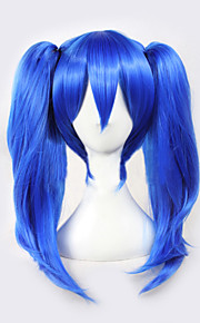Angelaicos Women Kagerou Project Enomoto Takane Long Straight Clip on Ponytails Black Blue Halloween Costume Cosplay Wig