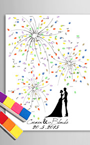 E-HOME® Personalized Fingerprint Painting Canvas Prints - Under The Fireworks Hand Drawing (Includes 12 Ink Colors)