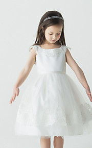 Tanssiaisasu Satiini/Tylli Flower Girl Dress - Hihaton - Polvipituinen